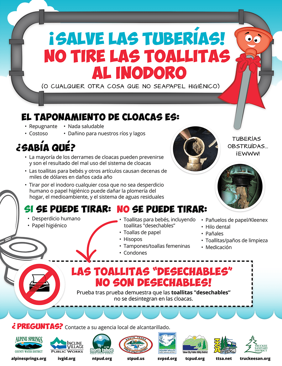 spanish flyer about wipes clogging pipes