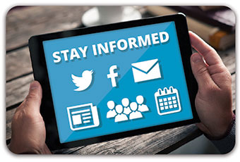 tablet device with stay informed text and social media icons