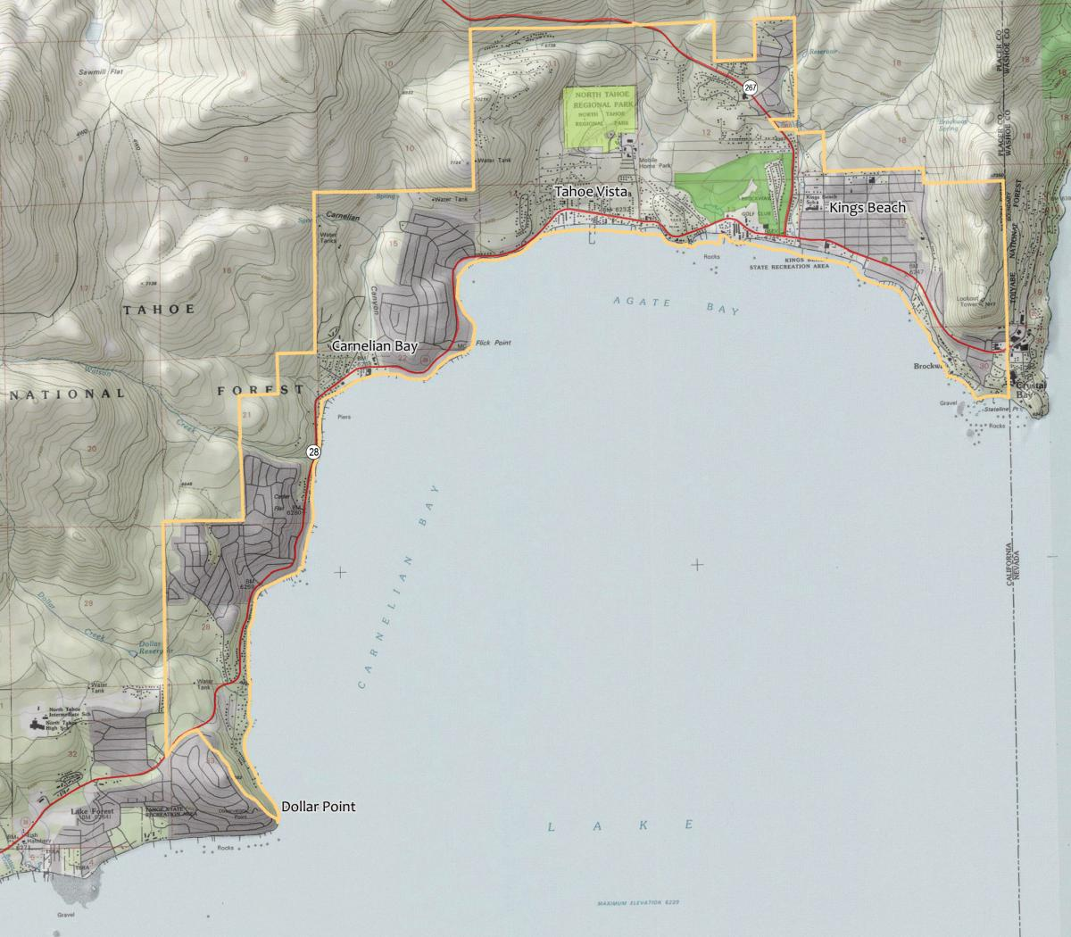 North Tahoe Public Utility District boundary map