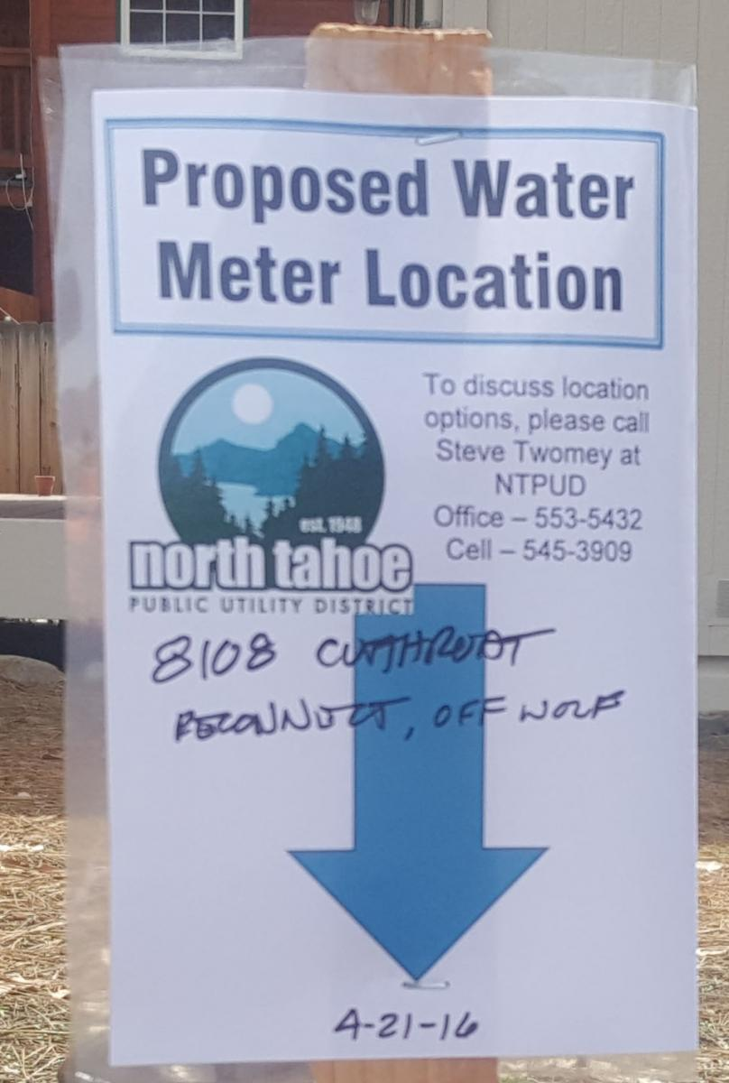 NTPUD Proposed Water Meter Location