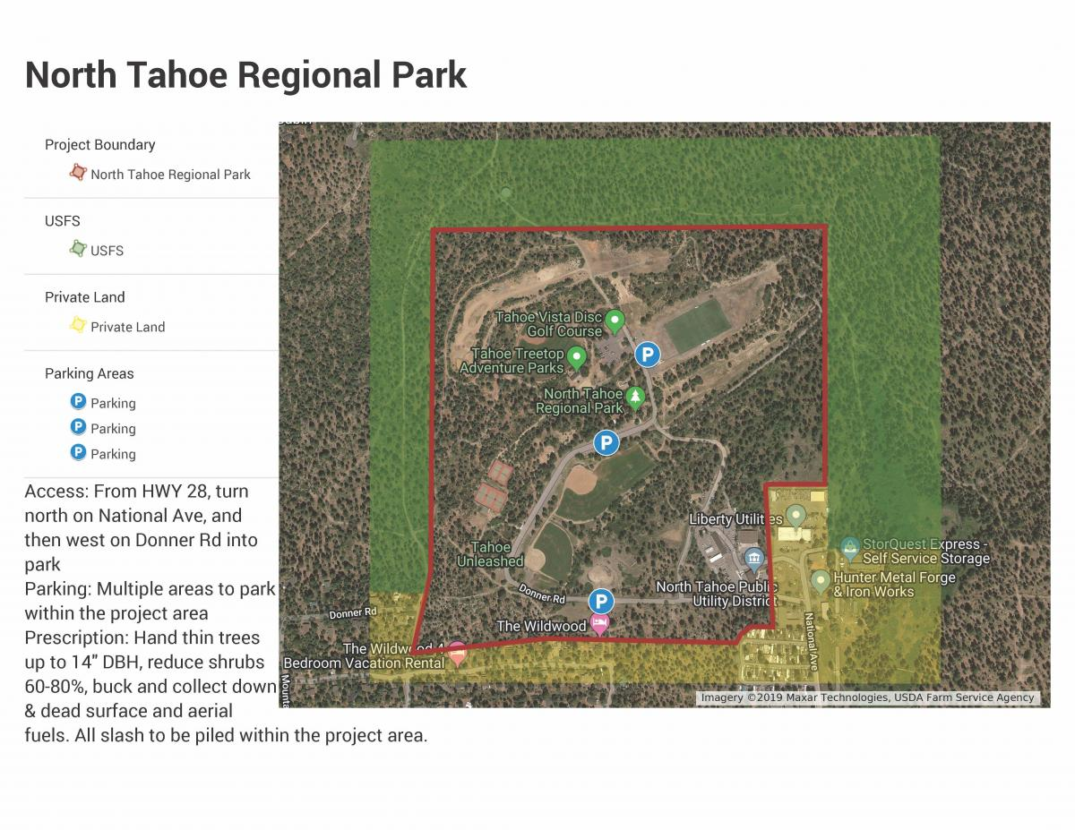 North Tahoe Regional Park fuels reduction map