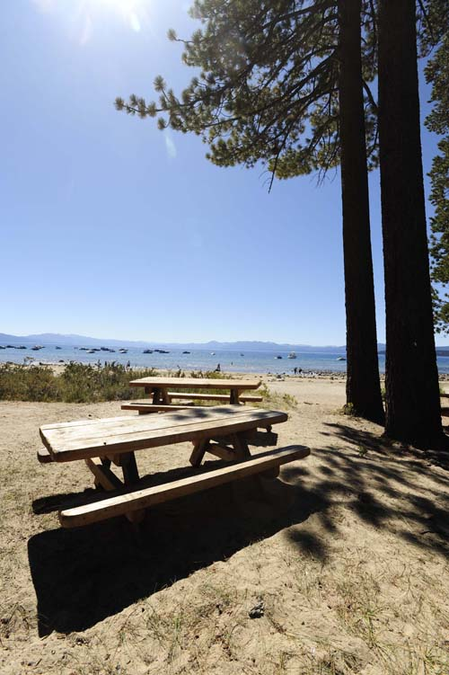 picnic tables at tahoe vista beach