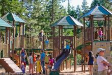 children playing on the playground in north tahoe regional park